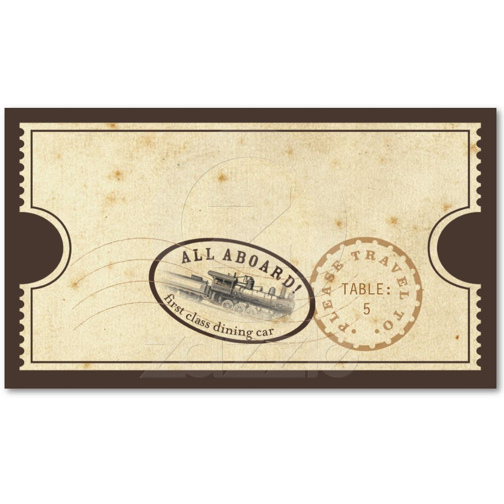 Vintage Ticket Train Escort Card Zazzle Com Wedding