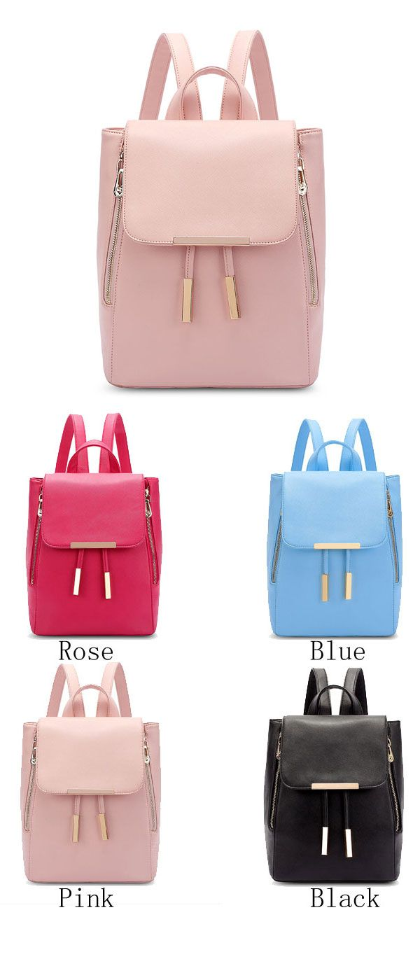 43938b98c0 Elegant Pink Funky Lady Solid Simple Square PU Drawstring Hasp Satchel  Backpack…