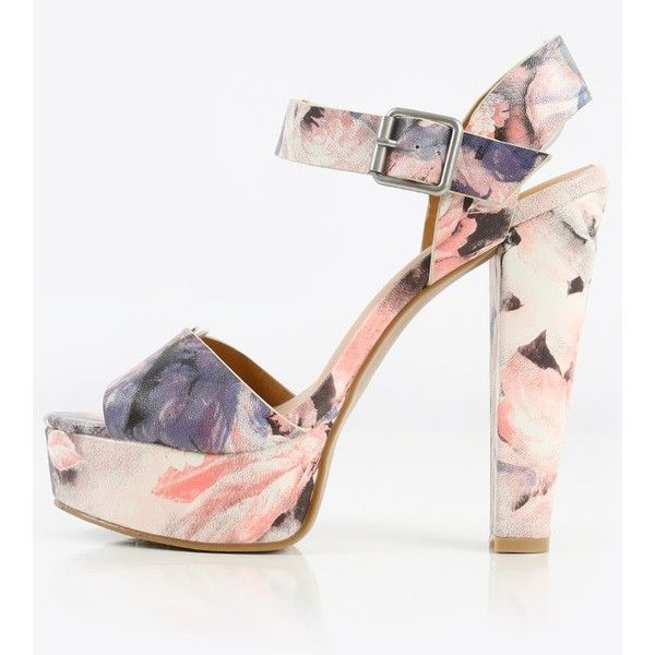 Dollhouse Impose Floral Platform Heels Makemechic ($26) ❤ liked on Polyvore featuring shoes, pumps, platform pumps, thick heel pumps, thick heel shoes, thick-heel pumps and ankle strap platform pumps
