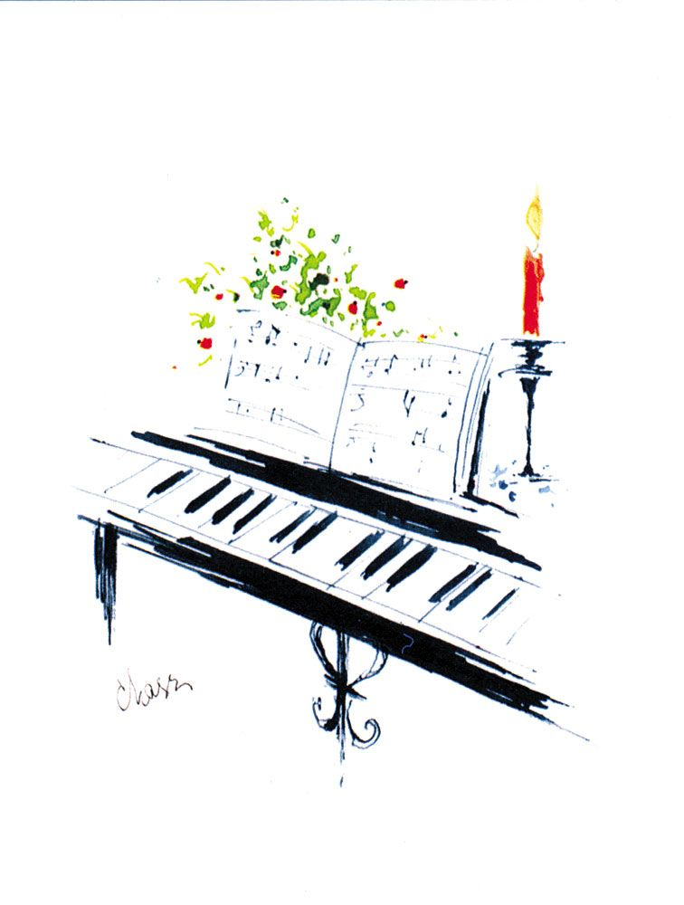 Buy Grand Piano with Candle Light Christmas Cards | Music Stationery ...