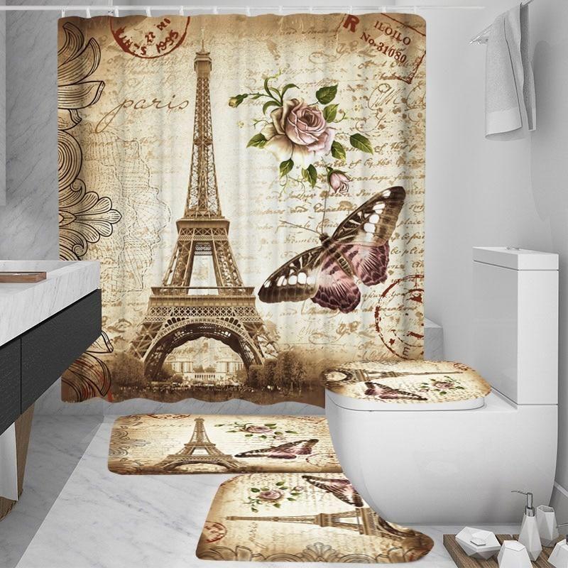 Paris Tower Landscape 3d Waterproof Shower Curtains Bathroom
