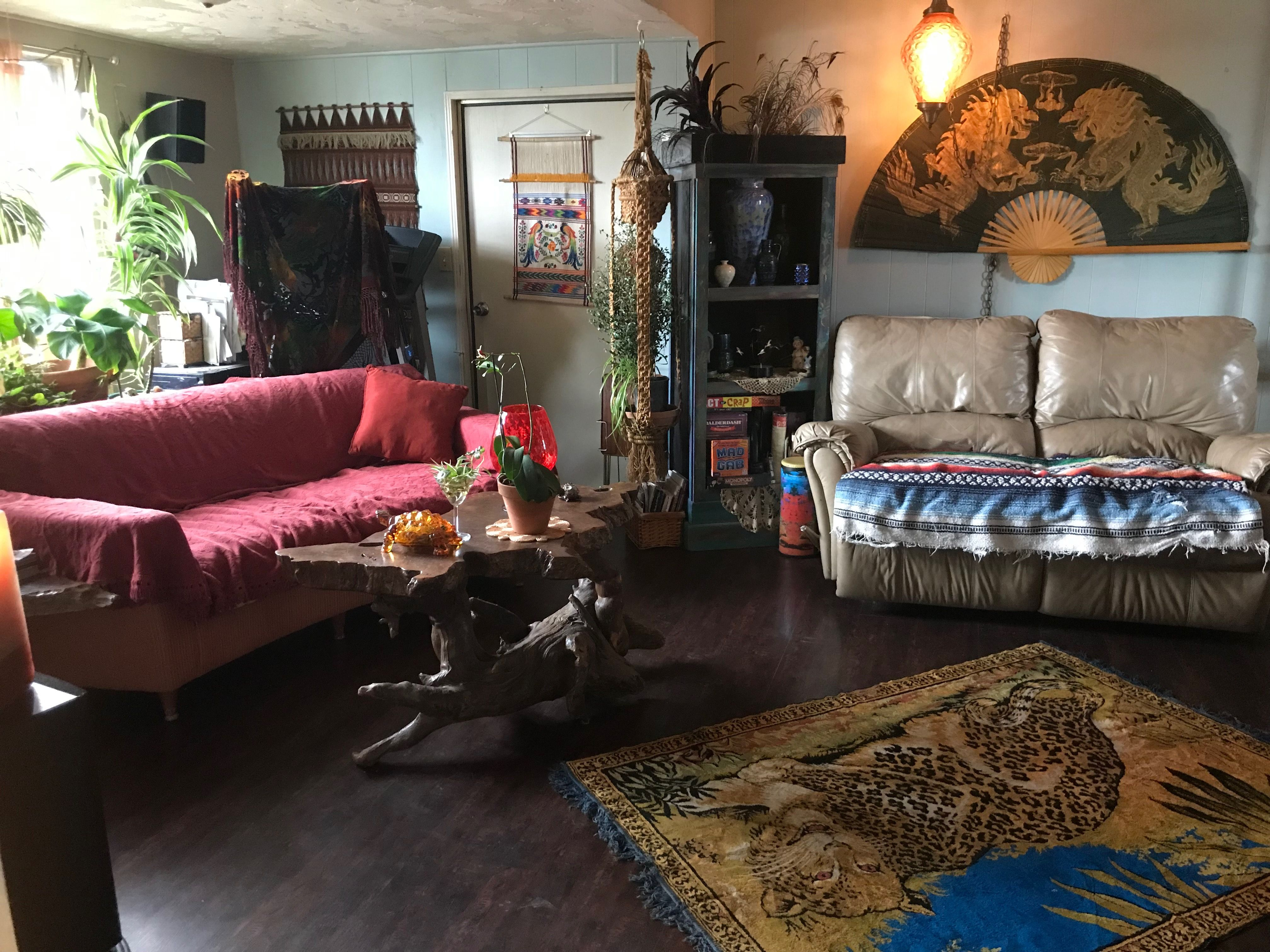 Mobile home with Bohemian Style! Living room decor, warmed ...