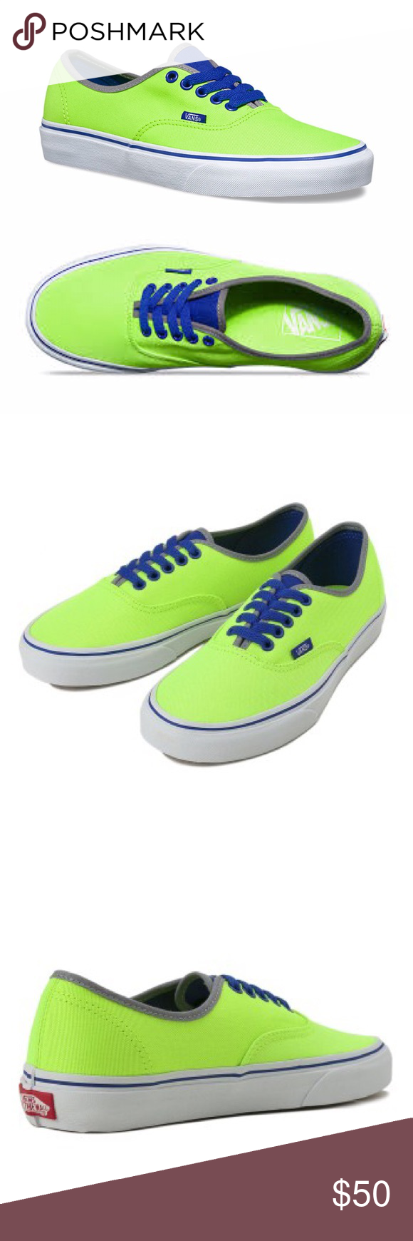 75e2938b85c5 Highlighter Green Neon Vans 100% vegan canvas vans in bright neon green.  Blue laces. Amazing contrast! Brand new in box! Vans Shoes Sneakers