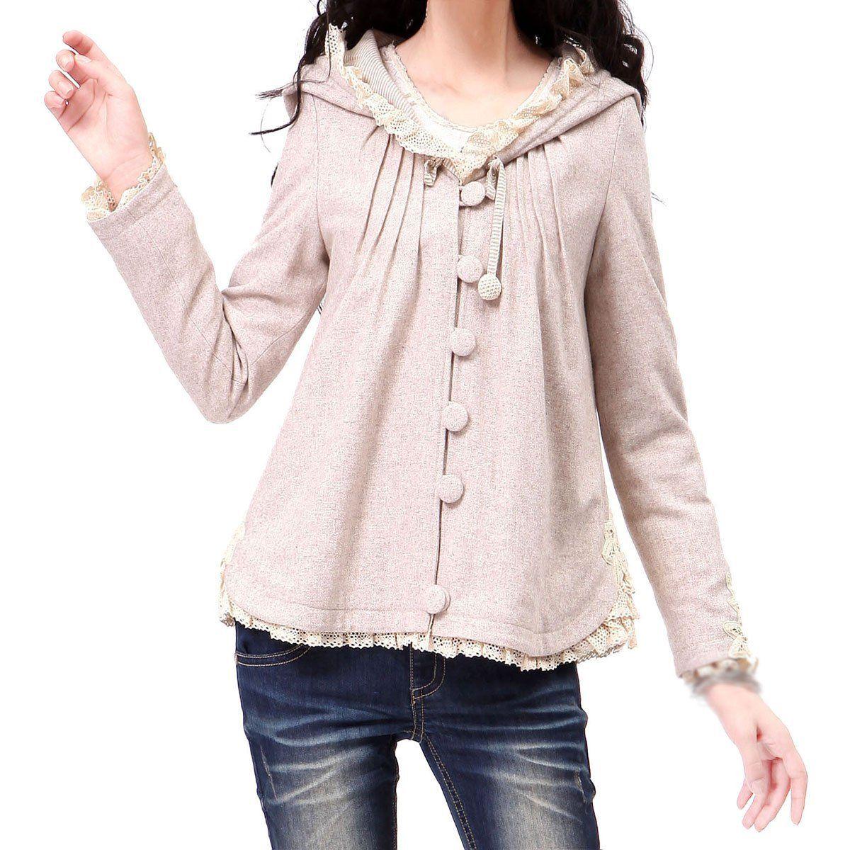 Artka Women S Lace-Trim Handmade Battenburg Lace Flannel Coat  Amazon.co.uk b3f479d23e7d9