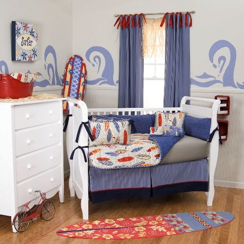 Surfing Baby Rooms Surf S Up Crib Bedding Blue Grey And Orange