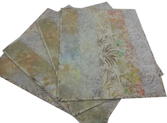 Quilted Placemats in Beige Batiks Set of Four  by Sieberdesigns