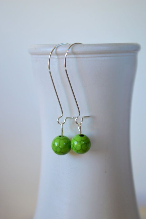 Green Bead Earrings, Simple Red Earrings, Boho Earrings, Bohemian Earrings, Single Bead Earrings, Silver Earrings, Casual Earrings