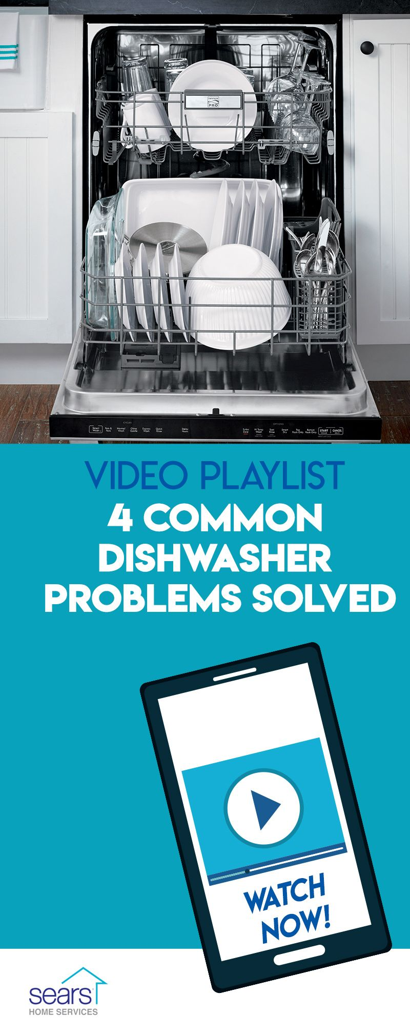 Is Your Dishwasher Acting Up The Pros At Sears Home Services Have Crafted A Series Of Dishwasher Troubleshooting Videos Dishwasher Tips Cleaning Hacks