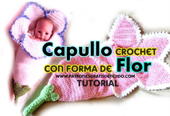 Capullo para bebé tejido a crochet con forma de flor | Mantas de ...