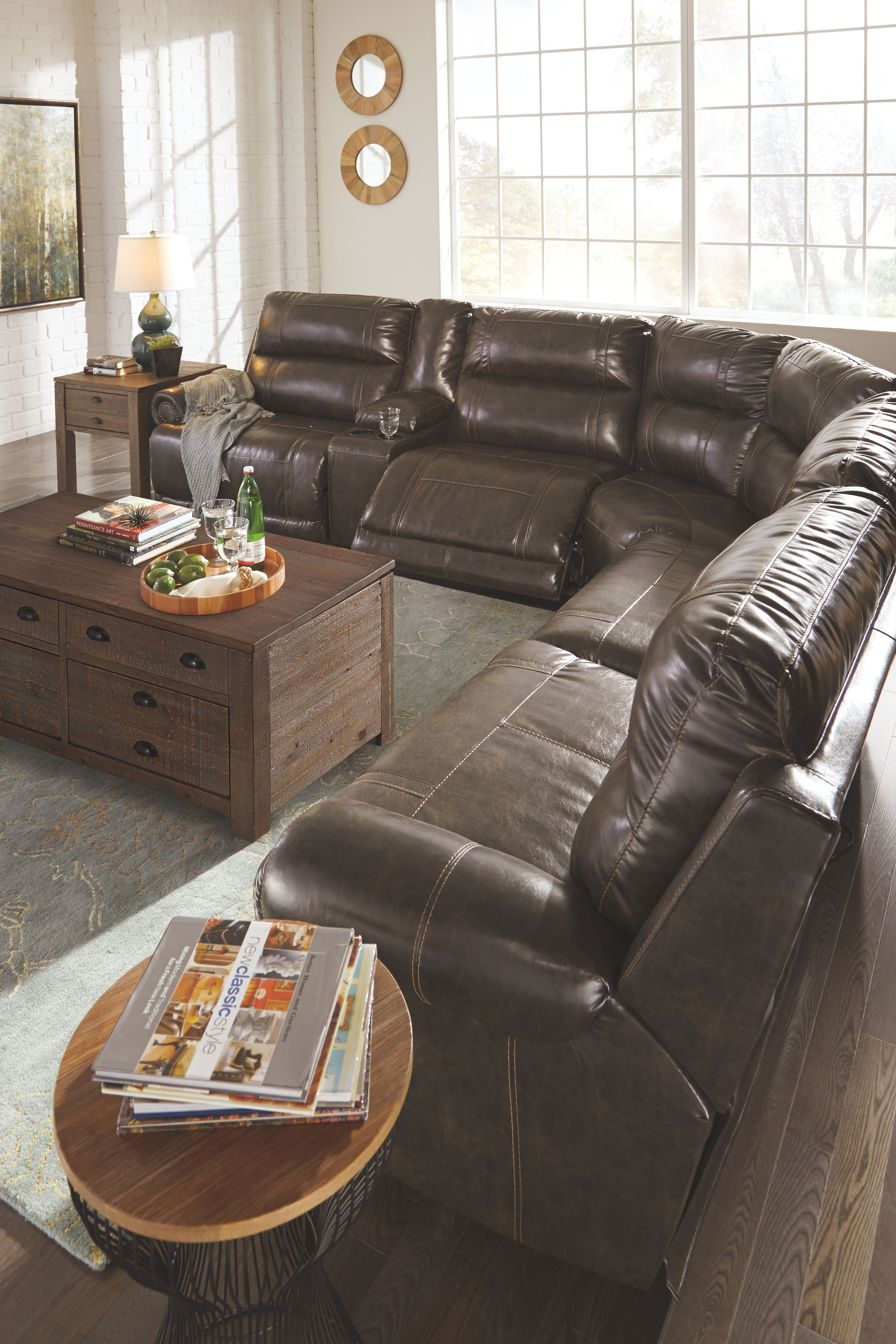 Leather Sectional Sofa Recliner Dak 5 Piece Sectional Non Power Antique Products Living Room