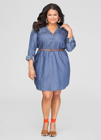Belted Denim Dress | Fashion Loves ... Plus is a Must! :) | Dresses ...