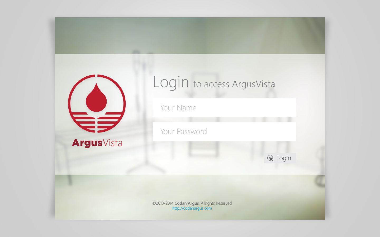 Login Screen For Argus Vista Windows 8 App 2013