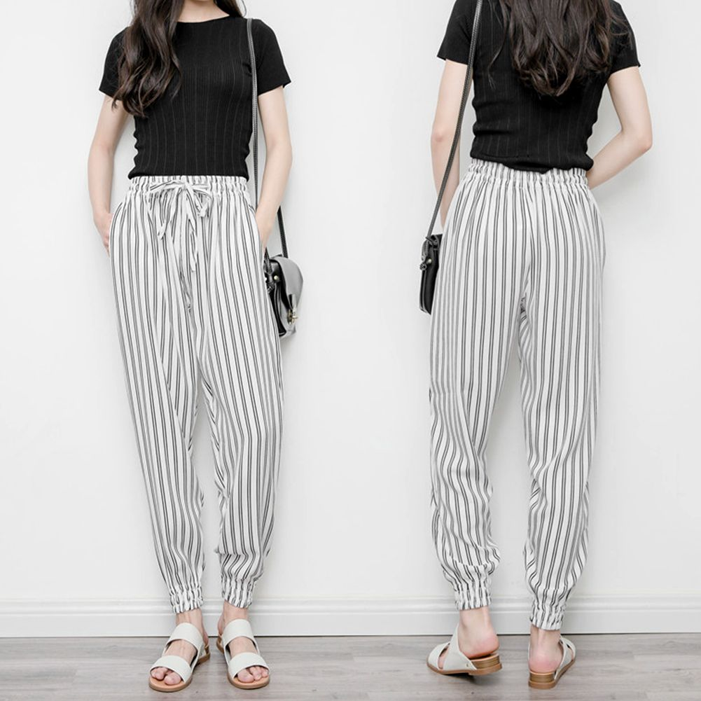 Women Baggy Harem Tapered Pant Trousers Pocket Striped White