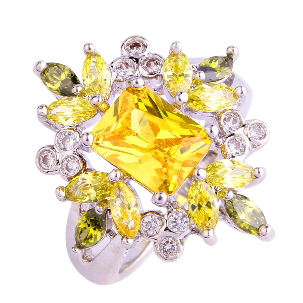 Citrine Ring Silver Jewlery Yellow Gemstones Fashion Jewelry