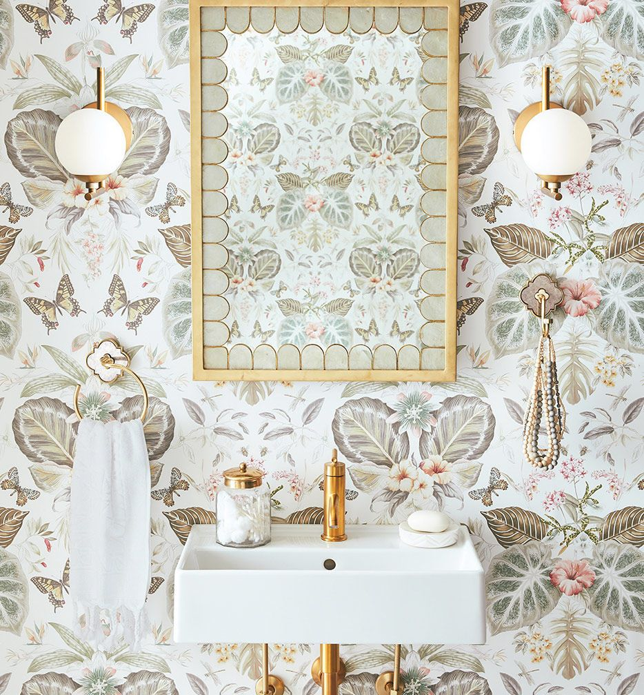 Neutral Colors For Small Powder Rooms: Gorgeous Neutral Pattern Bathroom With Wallpaper