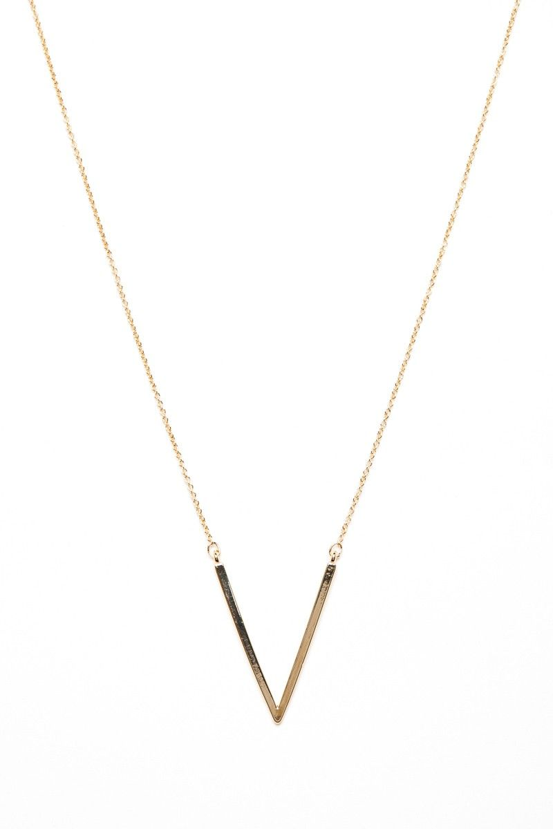 Shopsosie style v pendant necklace in gold jewelry box