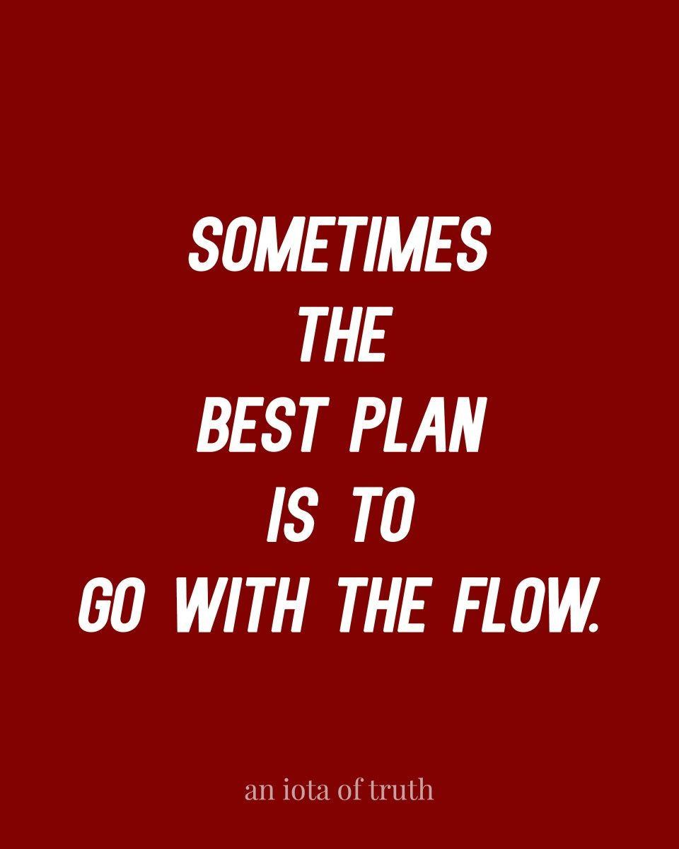 Sometimes The Best Plan Is To Go With The Flow Positive And