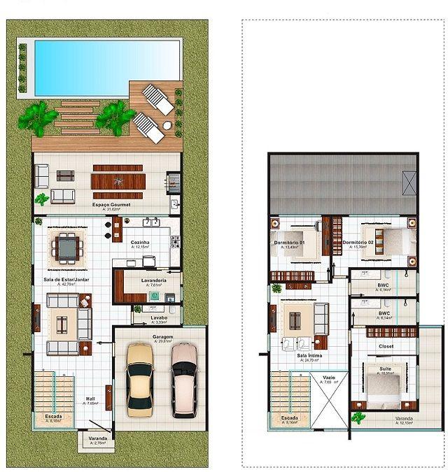 Plano de casa de 280 m2 planos casas pinterest for Planos de casa habitacion
