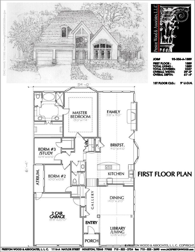 Best Patio House Plans Custom Built Home Blueprints Residential Hous Preston Wood Associates House Plans Floor Plans House Floor Plans