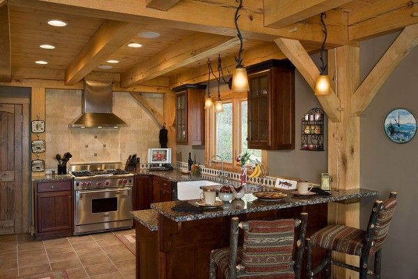 Breakfast Bar In A Red Oak Timber Frame Kitchen Mountain