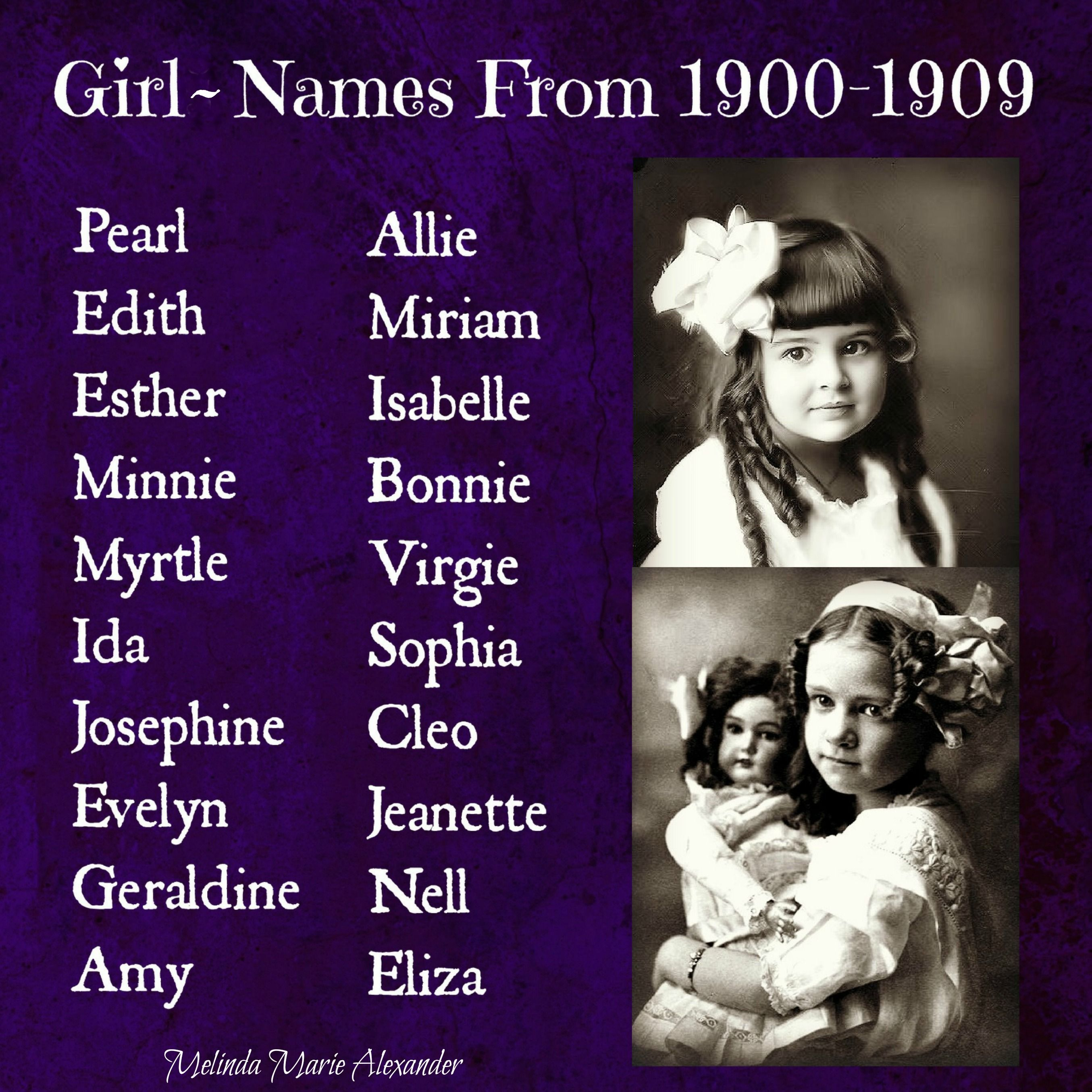 Vintage Girl Names from 1900 – 1909