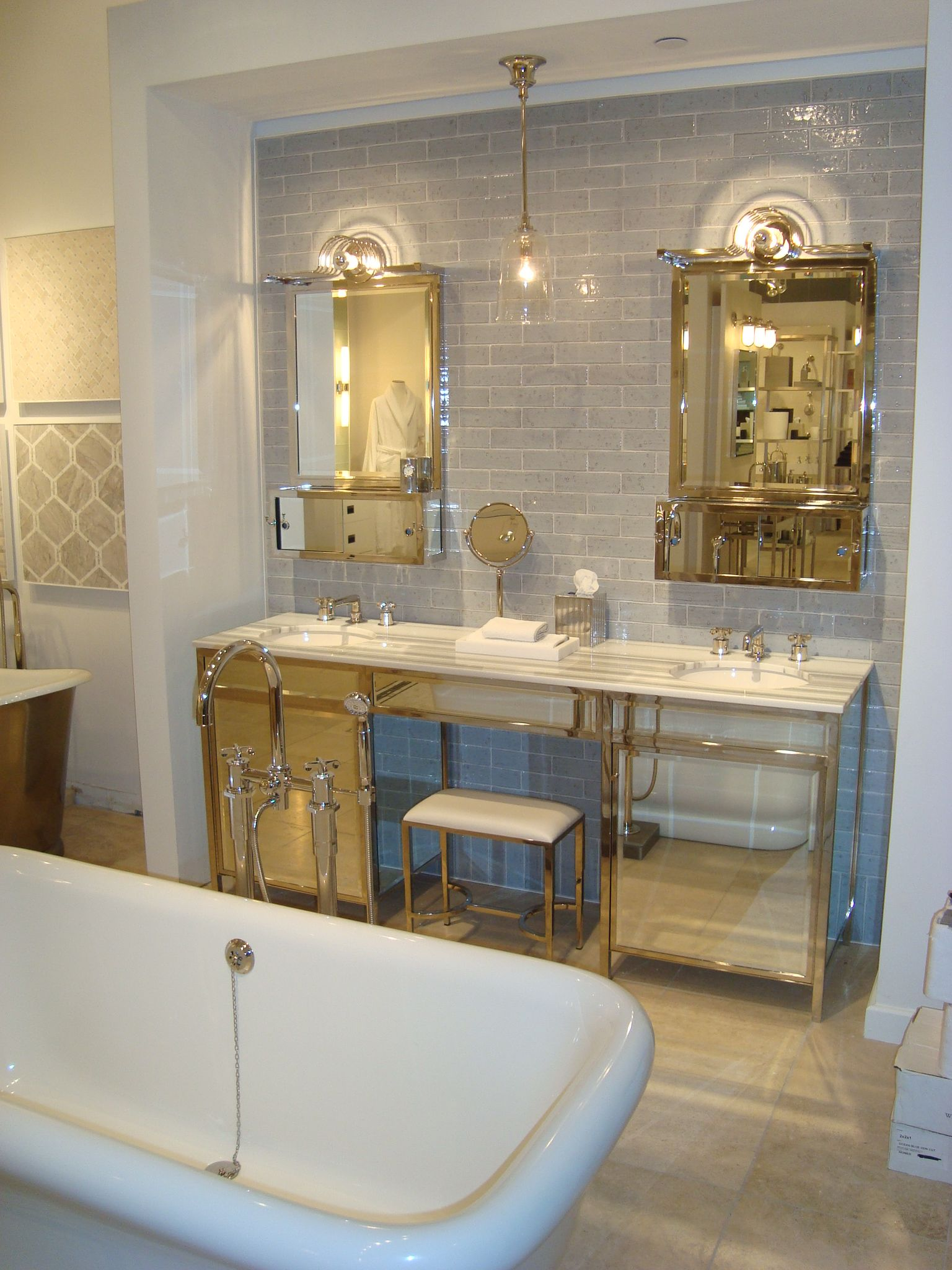 Boston Design Center Showroom Display Design Center Showroom Subway Tile Design Bathroom Interior Design