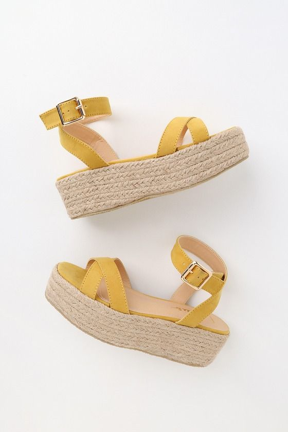 Cobi Yellow Suede Espadrille Platform Sandals 3