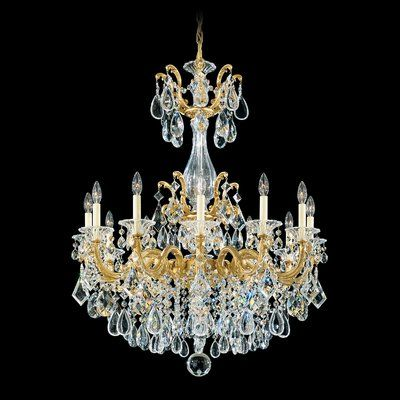 Antique Gold & Clear Crystal Glass 12 Light Chandelier
