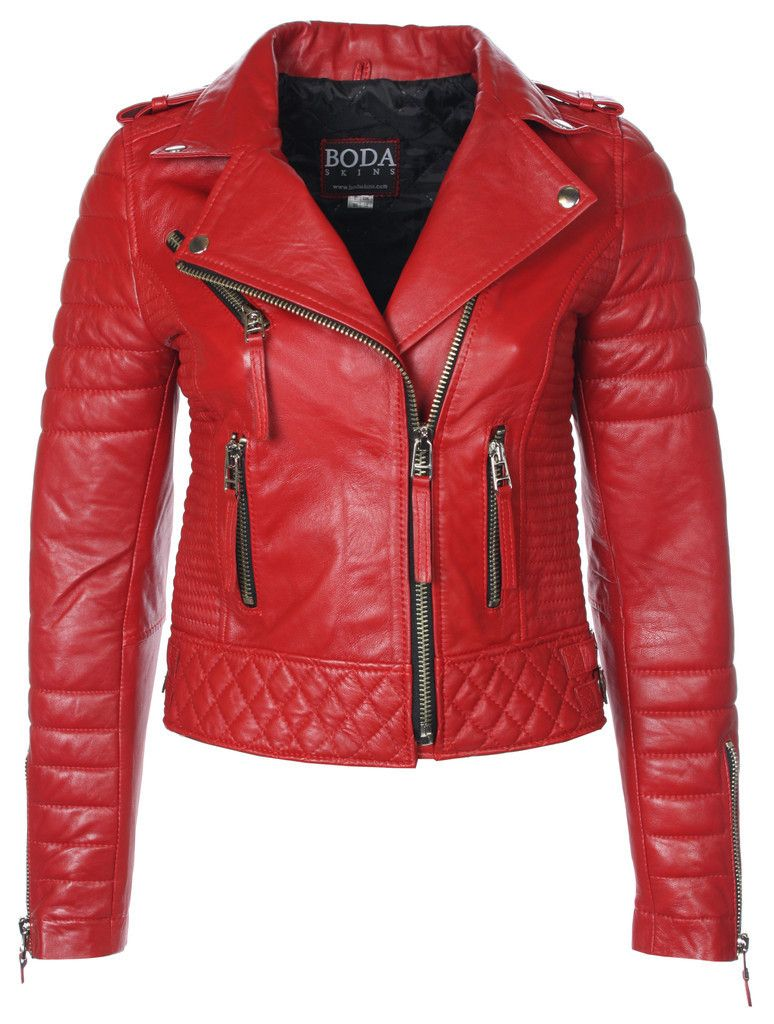 Kay Michaels Quilted Biker (Pop Red) – BODA SKINS - Leather to ... : quilted biker leather jacket - Adamdwight.com