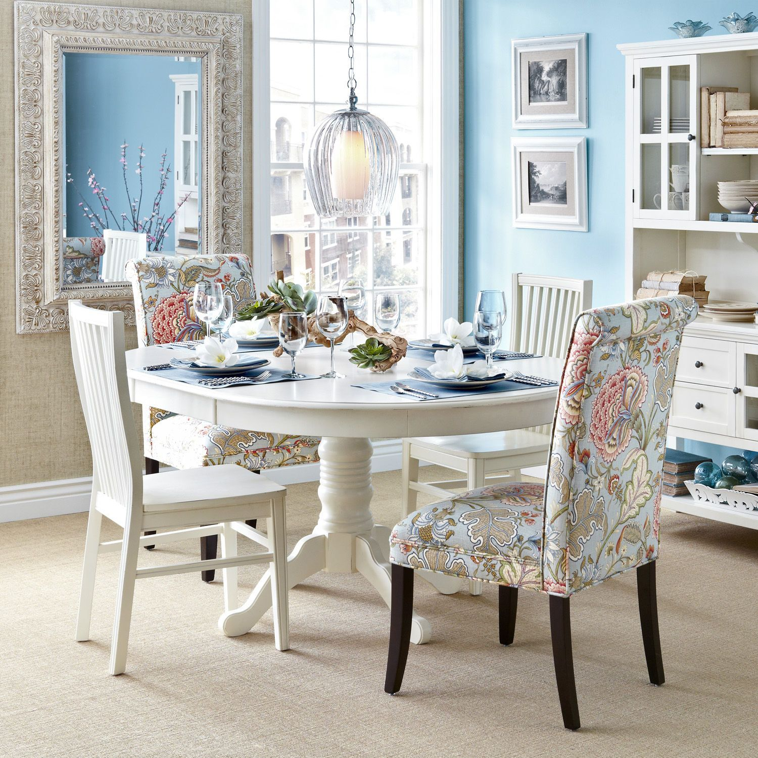 Angela Blue Floral Dining Chair | Dining chairs, Kitchen breakfast ...