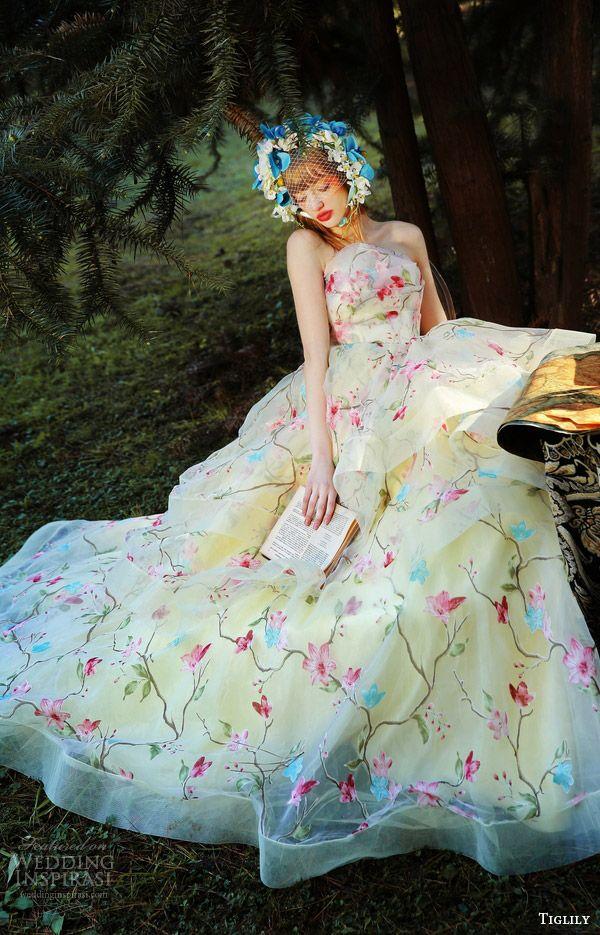 905f057e83388 tiglily bridal 2016 strapless crumbcatcher ball gown wedding dress (elly)  mv yellow color floral print romantic princess