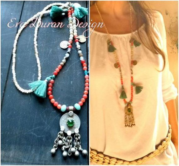 Gipsy necklace with kuchi pendant and agathes ethnic mala fusion gipsy necklace with kuchi pendant and agathes ethnic mala fusion jewelry ooak eva duran aloadofball Gallery
