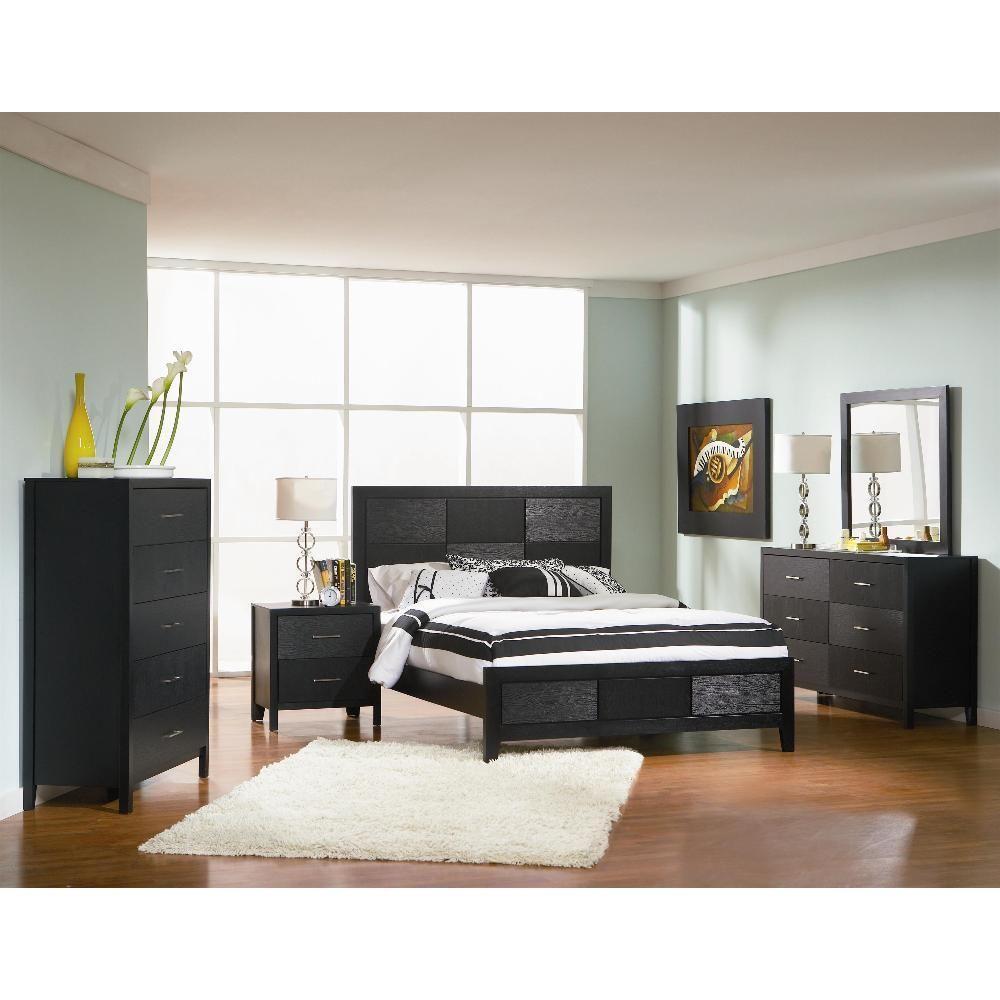 Karina 6-piece Bedroom Set (Karina 6 Piece King Set), Black, Size Eastern  King