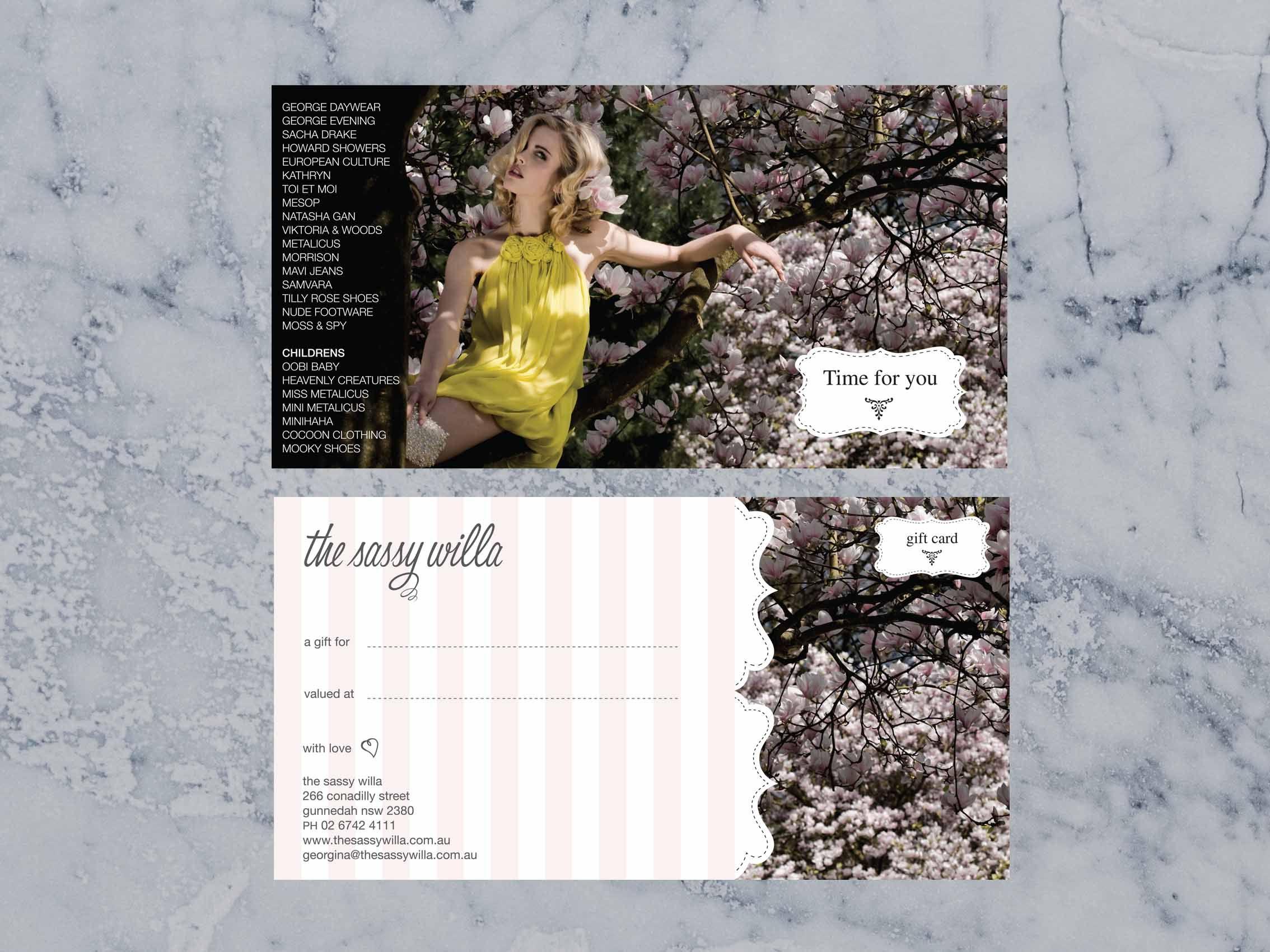 Sassy Willa Gift Voucher Creative Gift Vouchers Gift Card