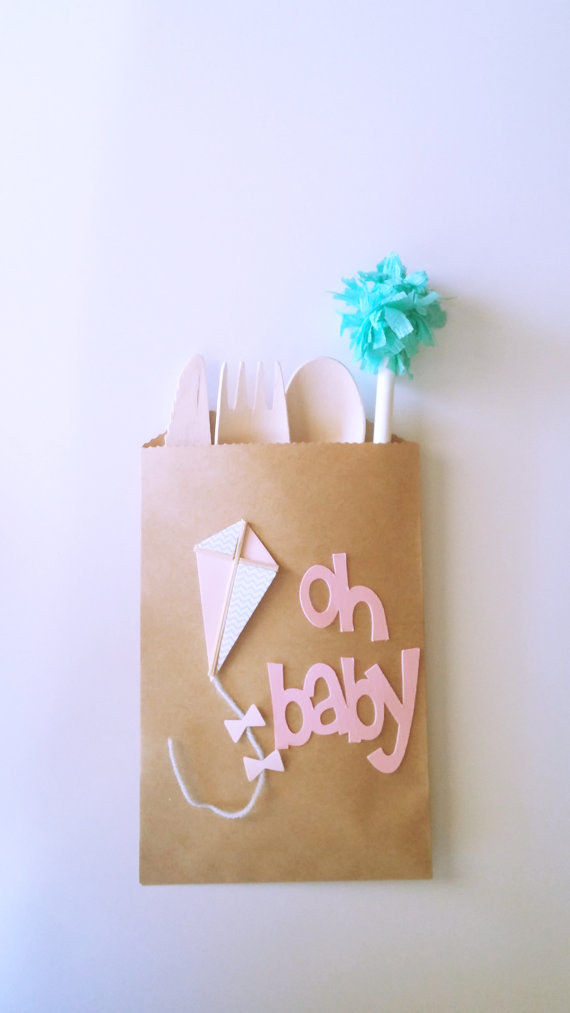 Kite Kraft Paper Bag Baby Shower Treat Bags Brown Small Candy Party Favors Show