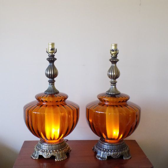 LARGE Mid Century Amber Glass Globe Table Lamps   3 Way Light   Mid Century  Regency