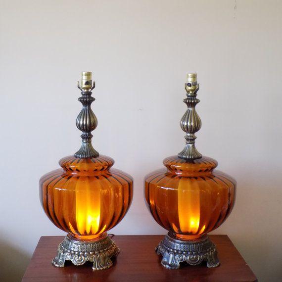 Large Mid Century Amber Glass Globe Table Lamps 3 Way Light Mid Century Regency Lighting Hollywood Regency Retro Decor Glass Table Lamp Lamp Glass Globe