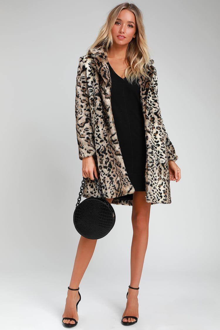 BB Dakota Womens Bradshaw Leopard Faux Fur Coat