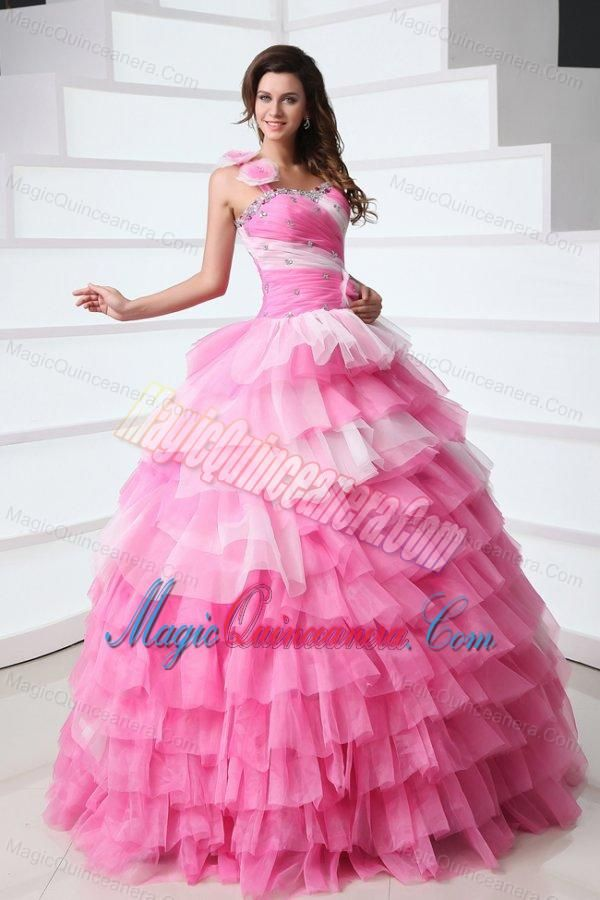 Pink One Shoulder Beading Quinceanera Dress with Ruffles Layered