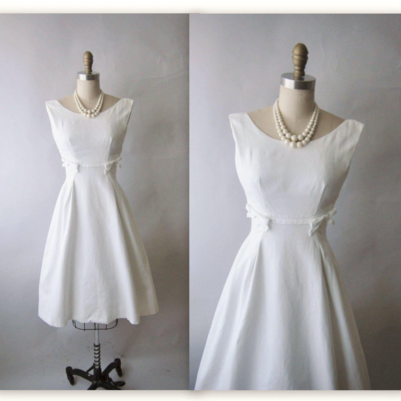 50's Designer Wedding Dress // Vintage 1950's White Pique