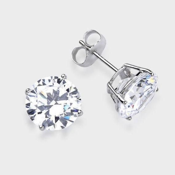 14kt Solid White Gold Superbright Clear Cz Stud Earrings