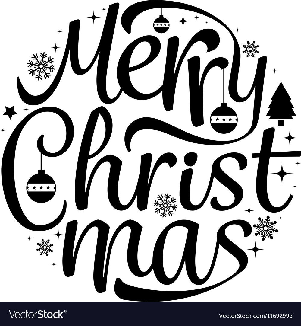 Merry Christmas text free hand design isolated on white