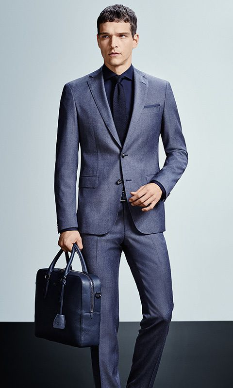 Moderne Elegantie Mannenoutfit Blauwe Kostuums Mannen Winter Mode