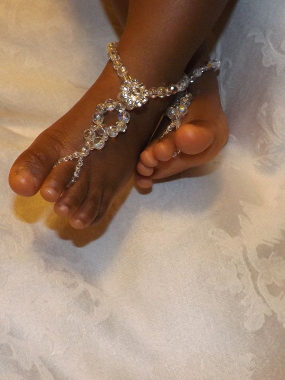 Baby Barefoot Sandals Baby Crystal Jewelry by SubtleExpressions, $20.00