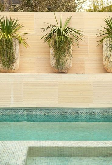 love the stone tiles & planters | POOLSIDE | Pinterest | Stone tiles ...