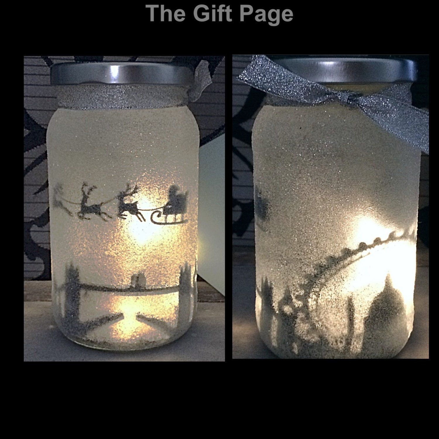 Night Light Mood Lighting Santa Over London In A Jar Fairy Etsy Fairy Jars Christmas Jars Jar Lights