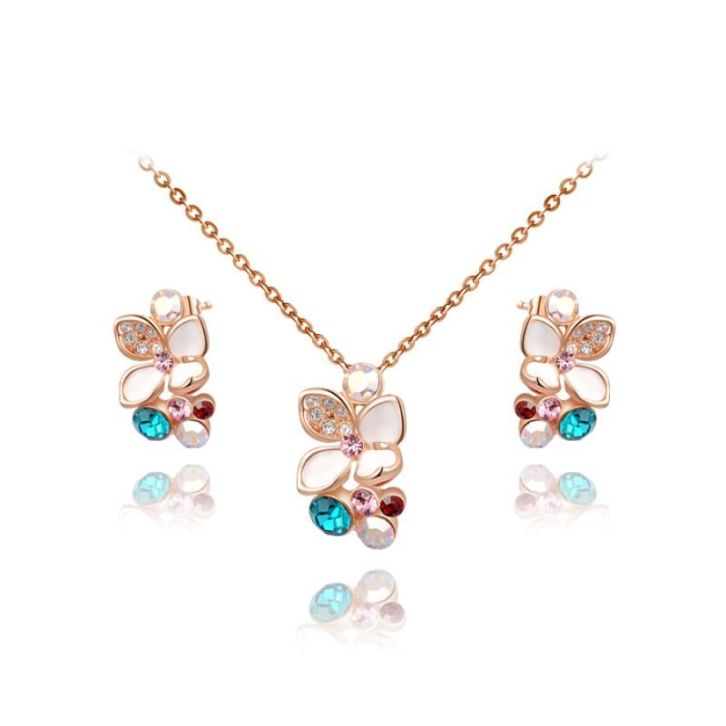 Crystal flower tin alloy necklaces and earrings wedding dress accessories from Pandahall Flagship Store on Aliexpress.com