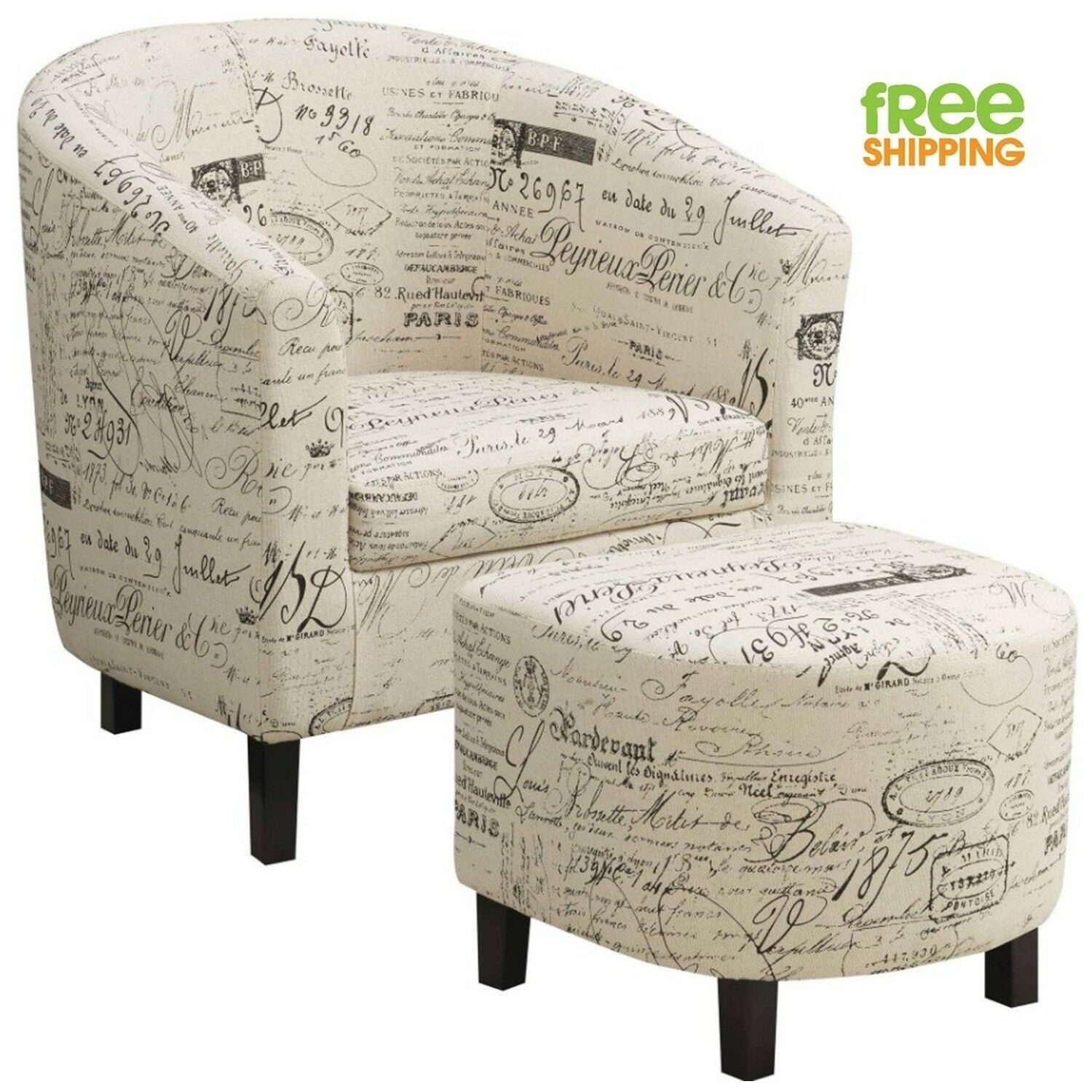 Sturdy Accent Chair Ottoman Set Off White French Script High Quality Vintage New Ebay In 2020 Chair And Ottoman Set Accent Chairs Fabric Accent Chair