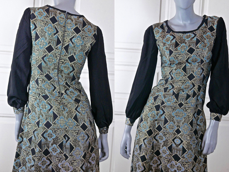 Italian Vintage Maxi Evening Dress 1960s Black Turquoise Silver Gold Brocade European Slimline Hostess Dress Size 6 Us Size 10 Uk Hostess Dresses Maxi Dress Evening Vintage Clothes Women