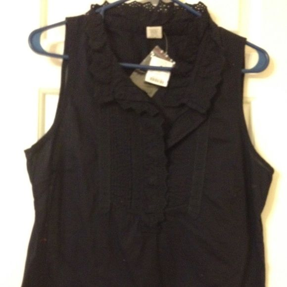 J. Crew Blouse J. Crew Black Sleeveless Blouse with lace collar. Size 10. New with tags. Never worn. J. Crew Tops Blouses